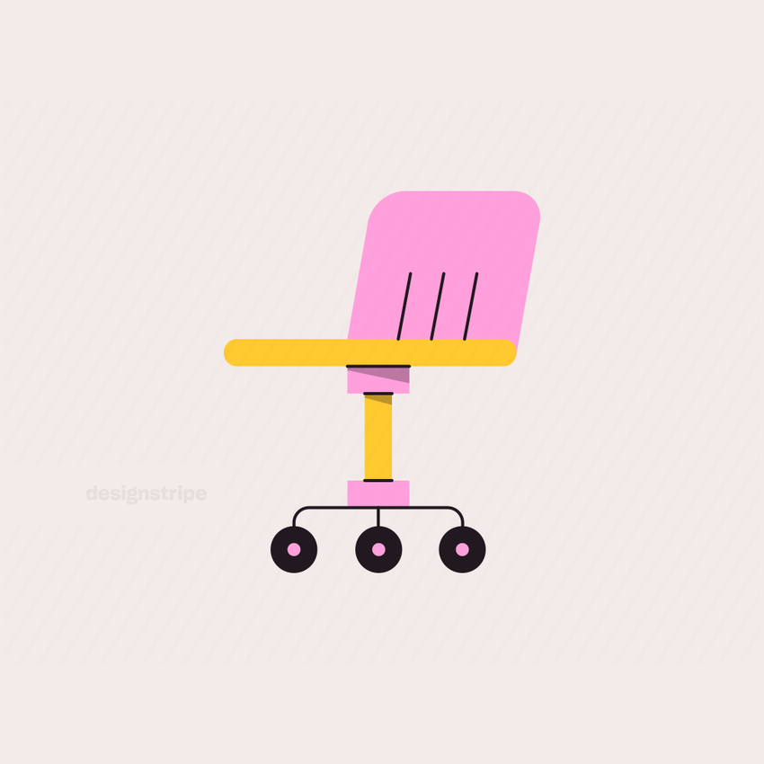 Illustration Of Back View of Office Chair