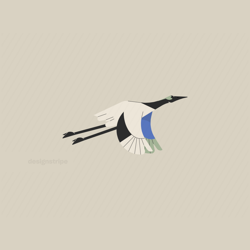 Illustration Of Crane Flying With Wings Down