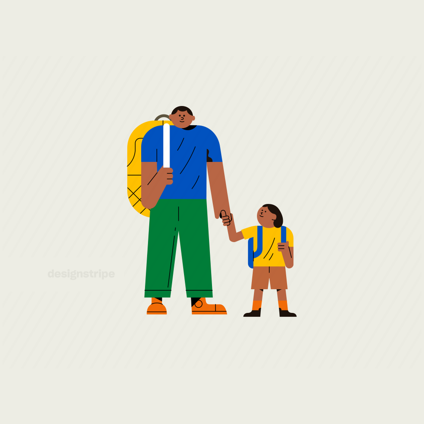 Illustration Of Father and son holding hands