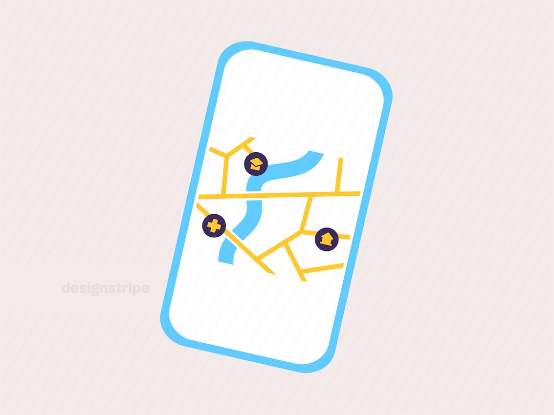 Illustration Of Mobile Map And Navigation