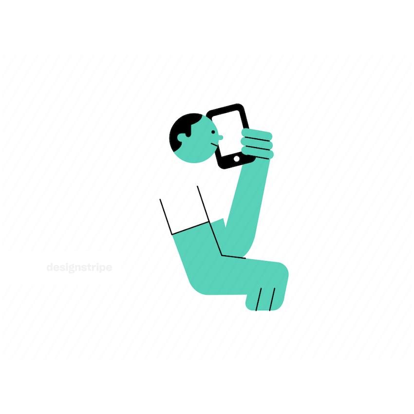 Illustration Of Man Holding a Smartphone
