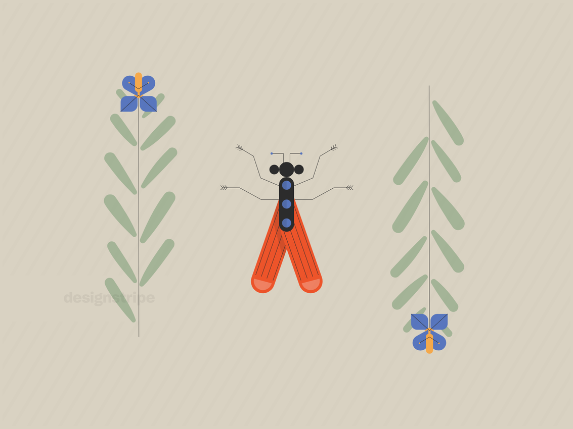 Illustration Of Insect In Nature