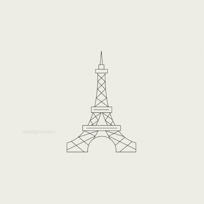 Illustration Of Line Drawn Eiffel Tower