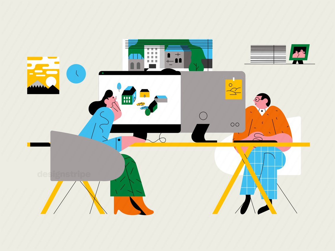 Illustration Of Co-workers Working At An Office