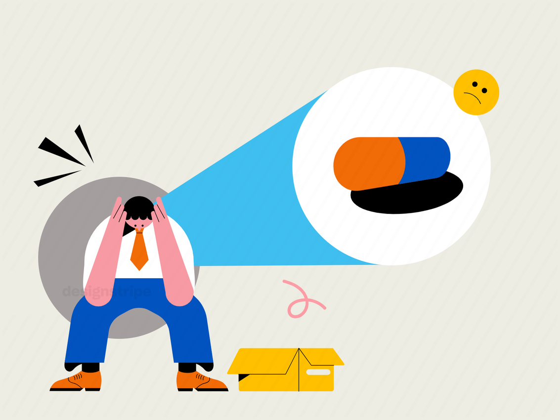Illustration Of Person Struggling With Medication