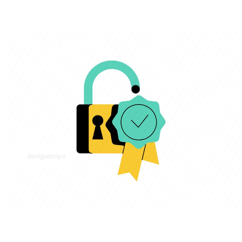 Illustration Of Lock and Checkmark Stamp