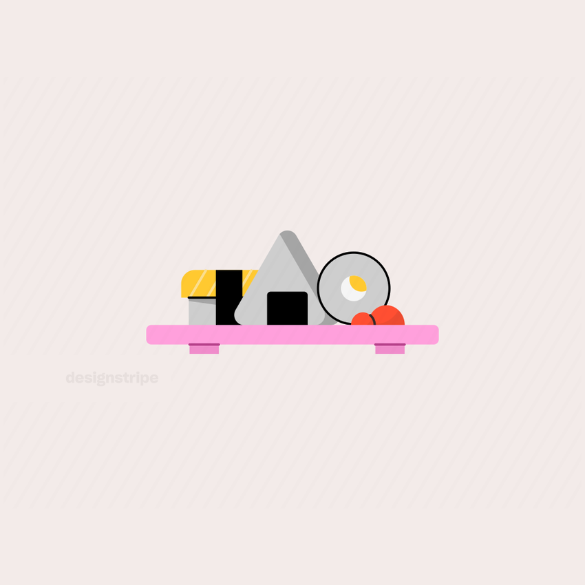 Illustration Of Tray with Sushi Rolls