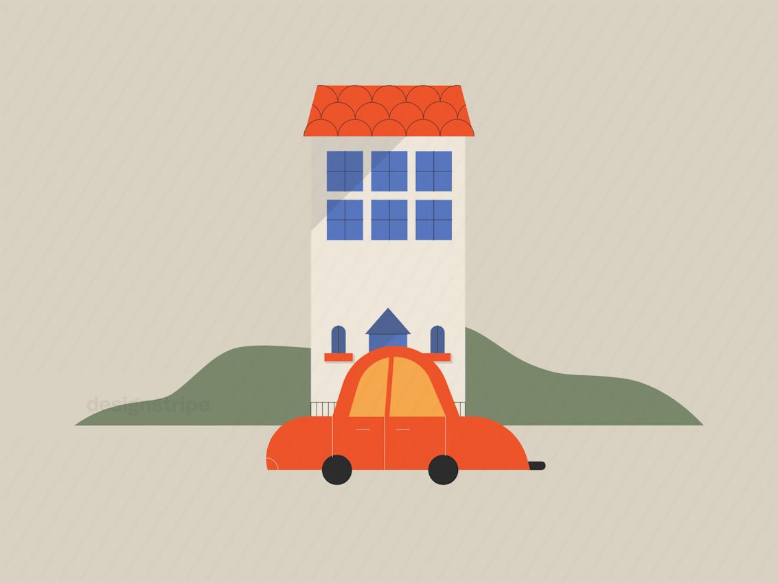 Illustration Of Building And Transportation