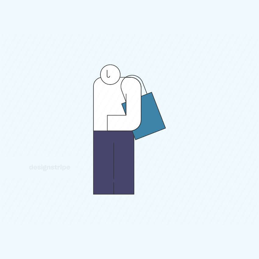 Illustration Of Bald Man Standing With Totebag