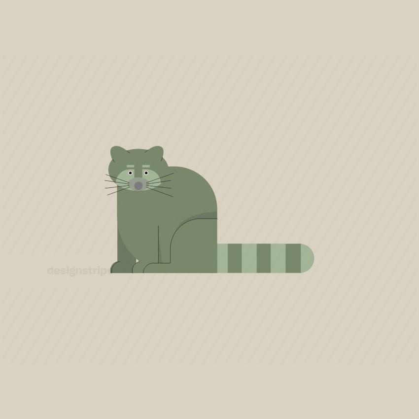 Illustration Of Raccoon Sitting