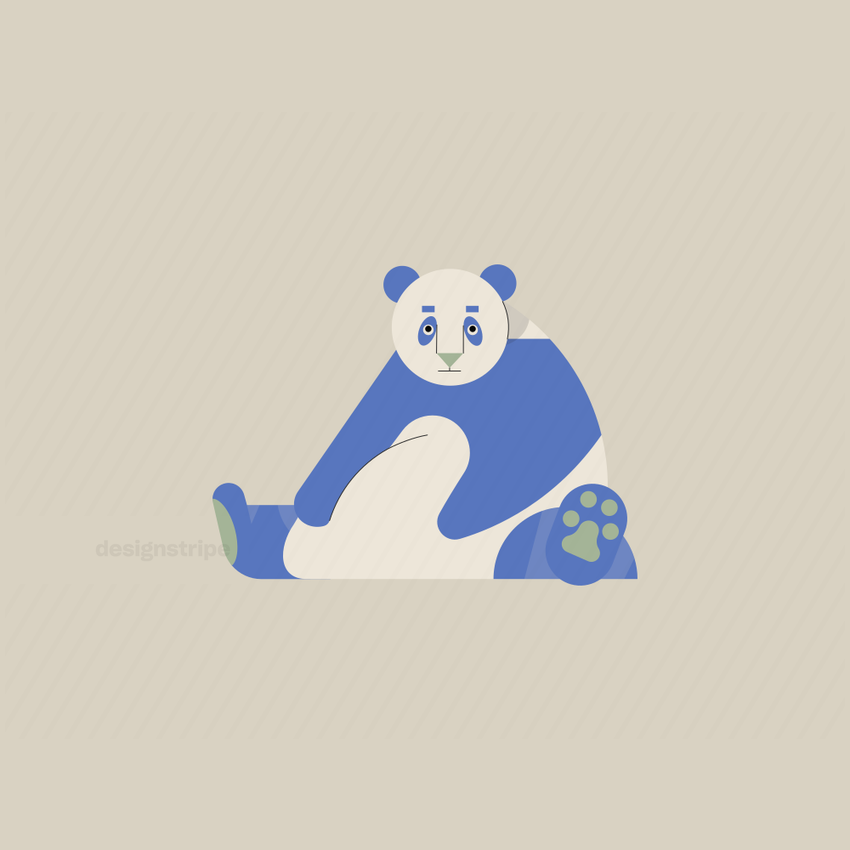 Illustration Of Giant Panda Sitting