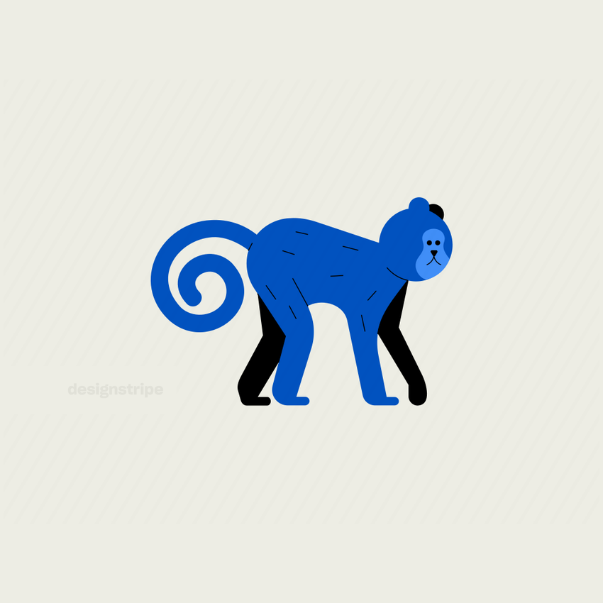 Illustration Of Monkey with Curled Tail