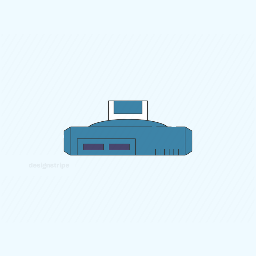 Illustration Of Gaming Console With Cassette