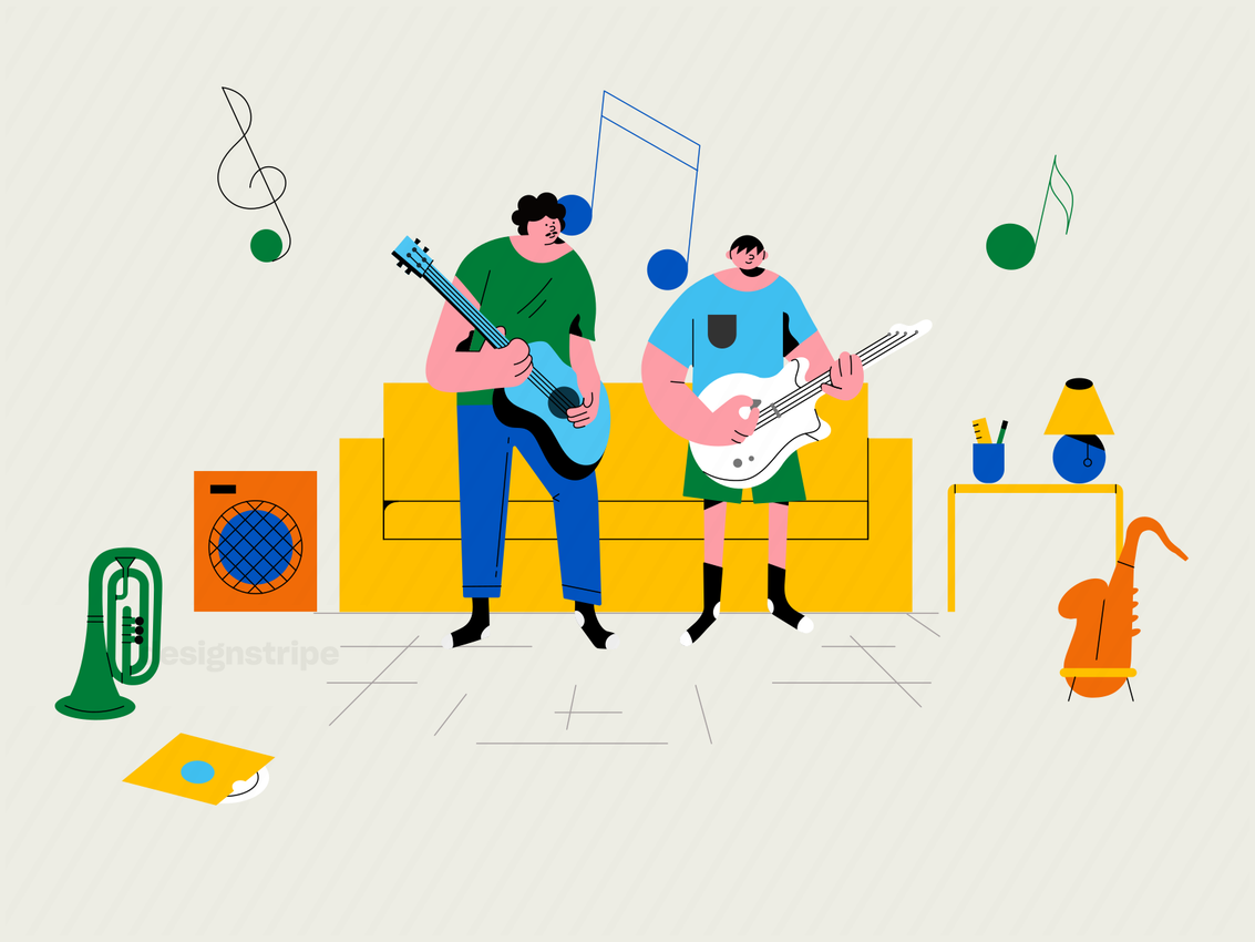 Illustration Of Father and Son Practicing Guitar