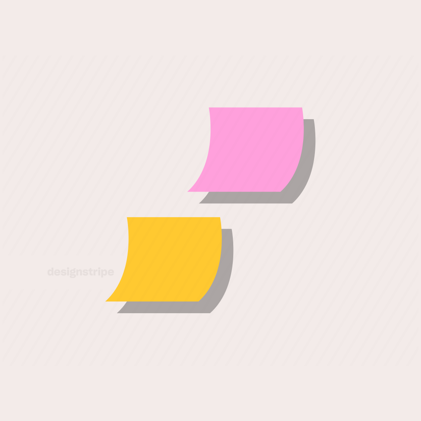 Illustration Of Two Post It Notes with Shadows