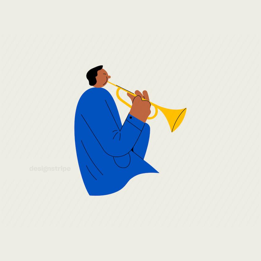Illustration Of Torso of Trumpet Player