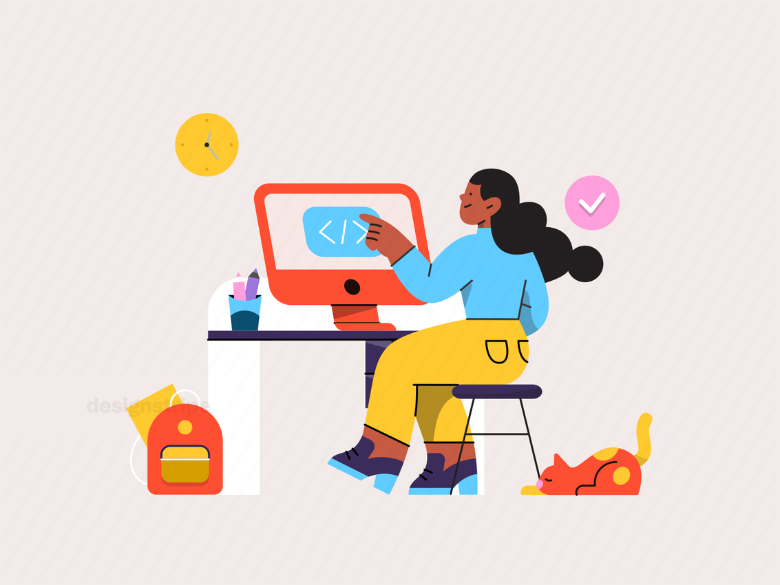 Illustration Of Person Learning Online