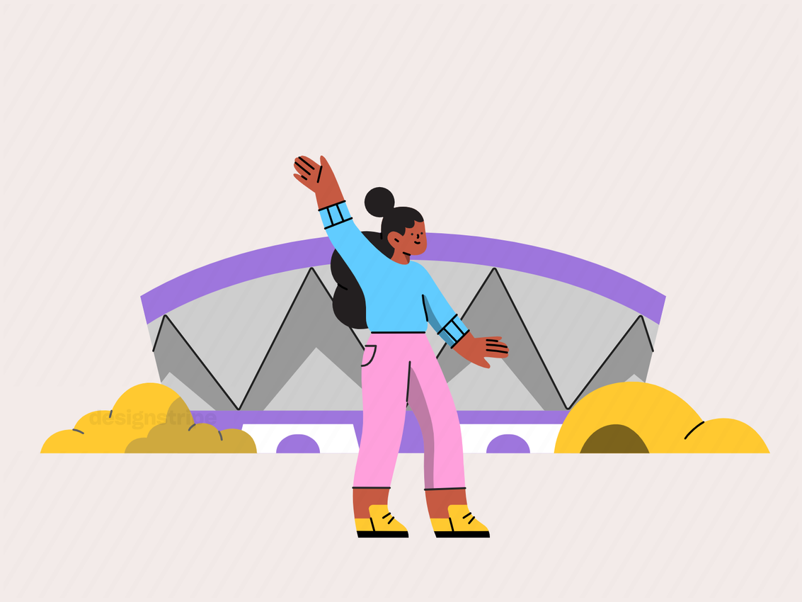 Illustration Of Person Attending A Sports Event