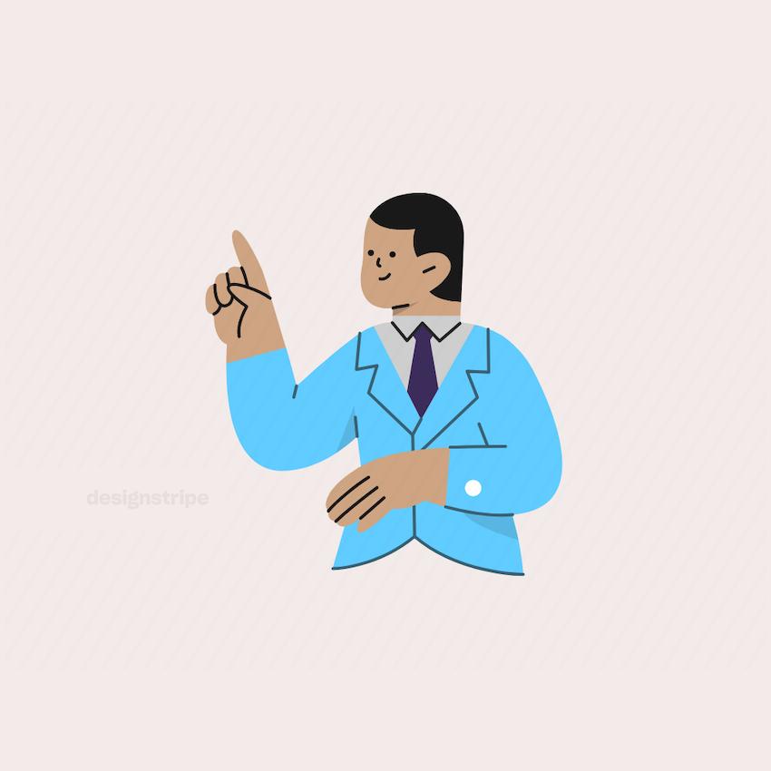 Illustration Of Half Body Business Man Pointing