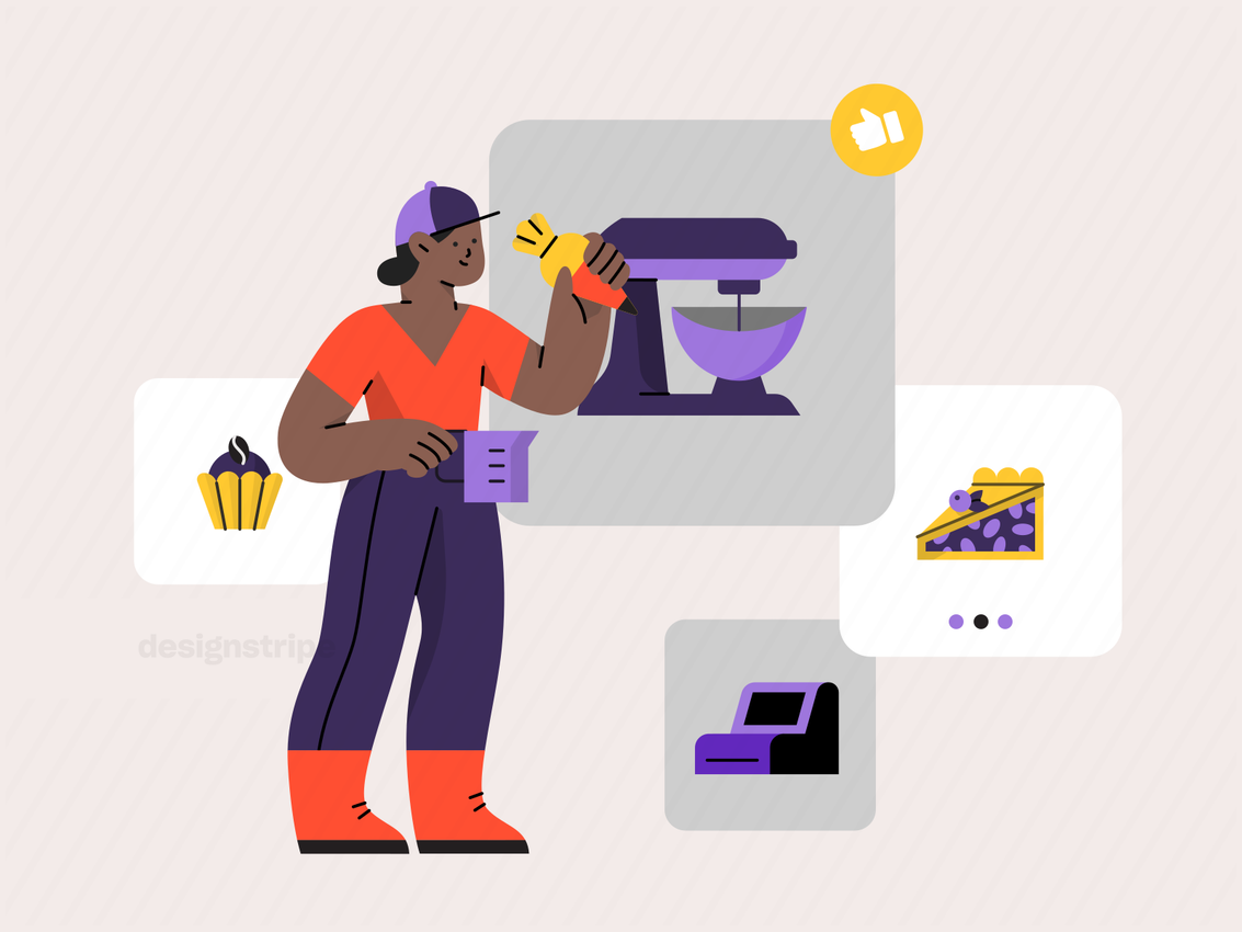 Illustration Of Person shopping online