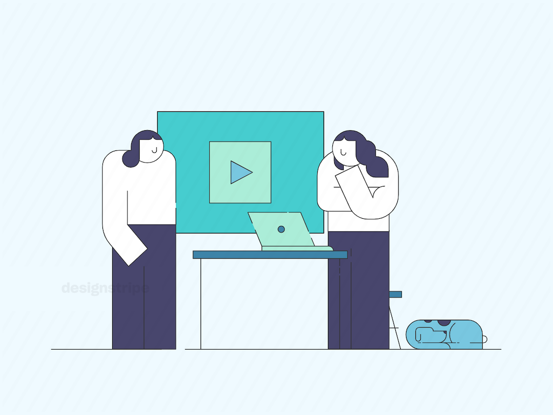 Illustration Of Two People Working At An Office