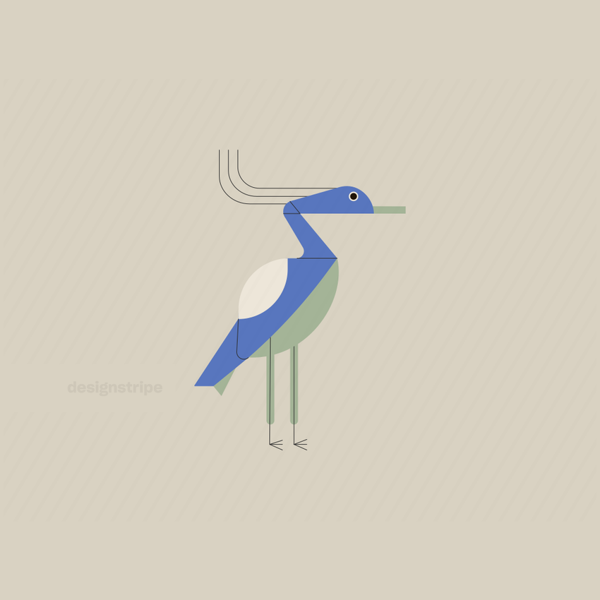 Illustration Of Crane, Heron, or Egret Standing In Profile With Tail Out