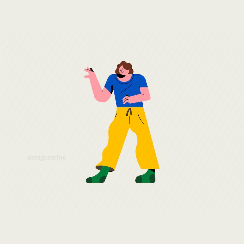 Illustration Of Woman in Pyjamas Walking