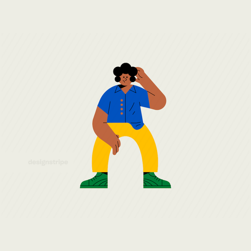 Illustration Of Smart casual man sitting with a lifted arm
