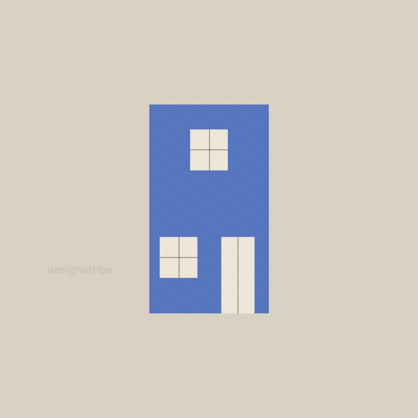 Illustration Of Vertical Building With Two Windows And Door