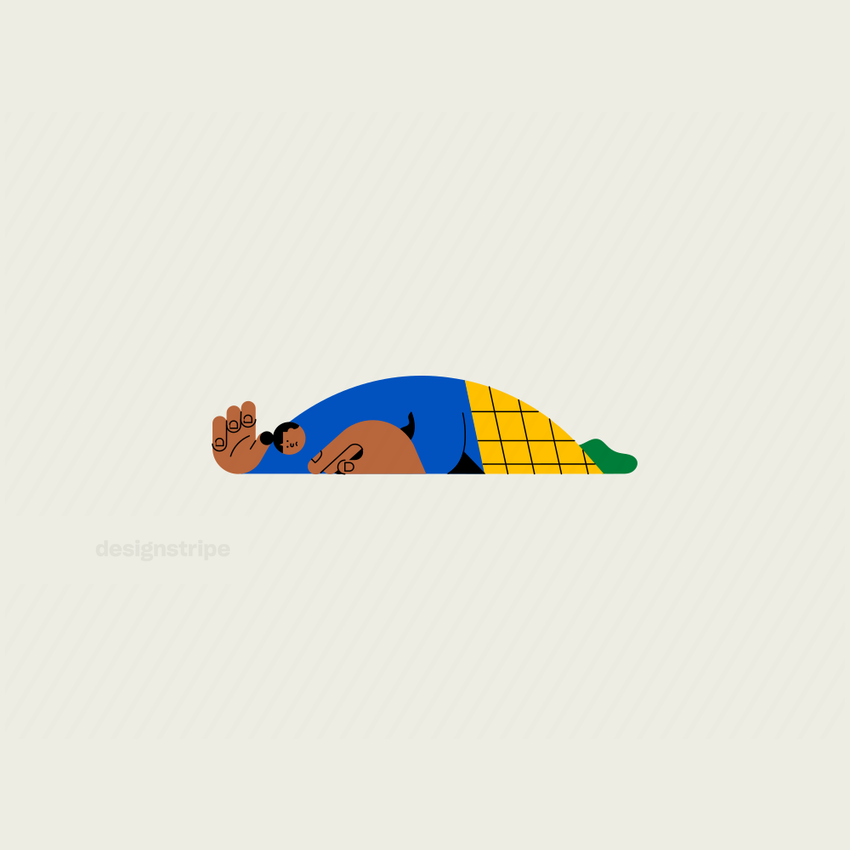 Illustration Of Struggling Woman Lying On Front