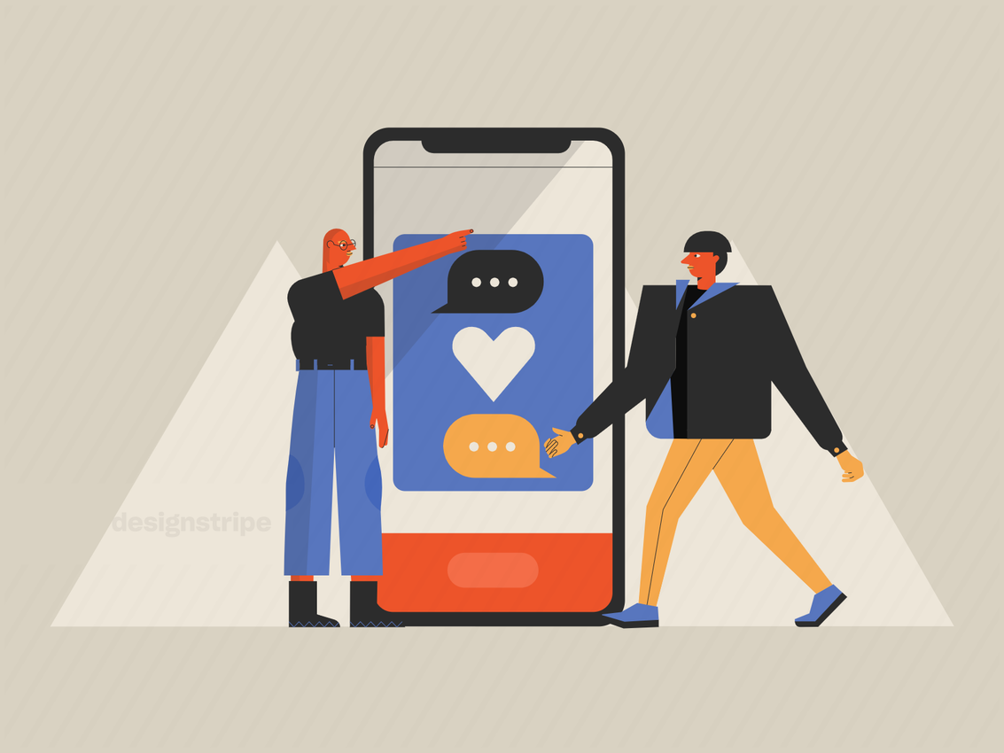 Illustration Of People Using A Dating App