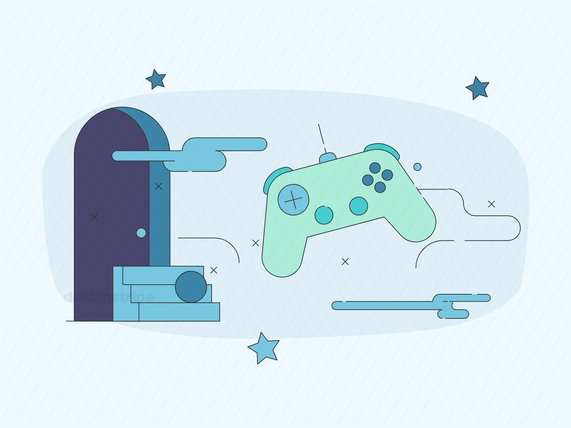 Illustration Of Video Game Console or Controller Floating In A Virtual World