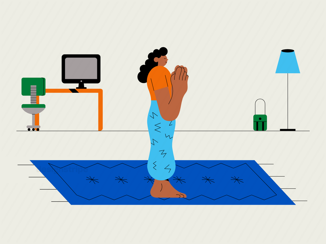 Illustration Of Person Meditating Or Doing Yoga At Work