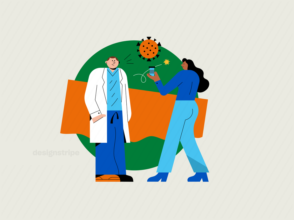 Illustration Of Two Scientists Conducting Medical Research