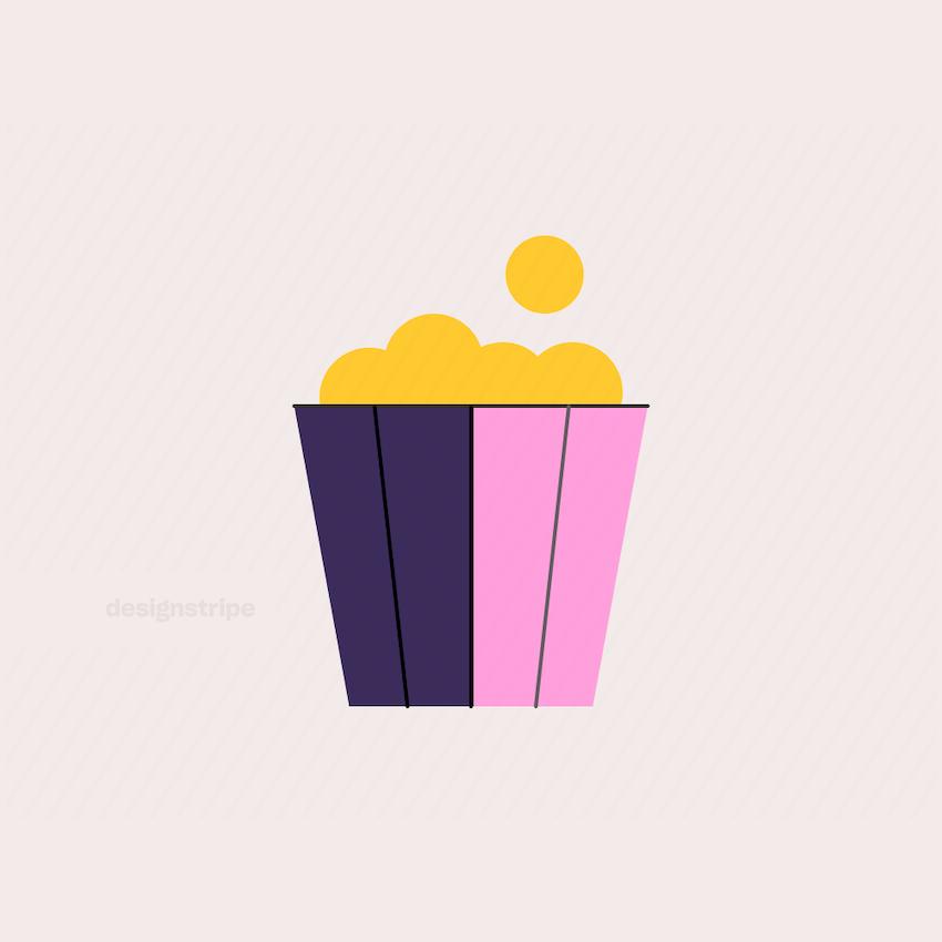 Illustration Of Popcorn in a Tub