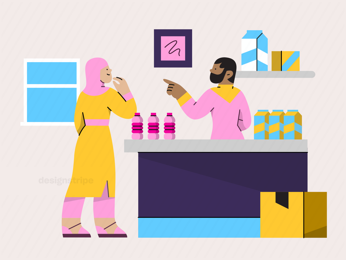 Illustration Of Customer Ordering At A Convenience Store