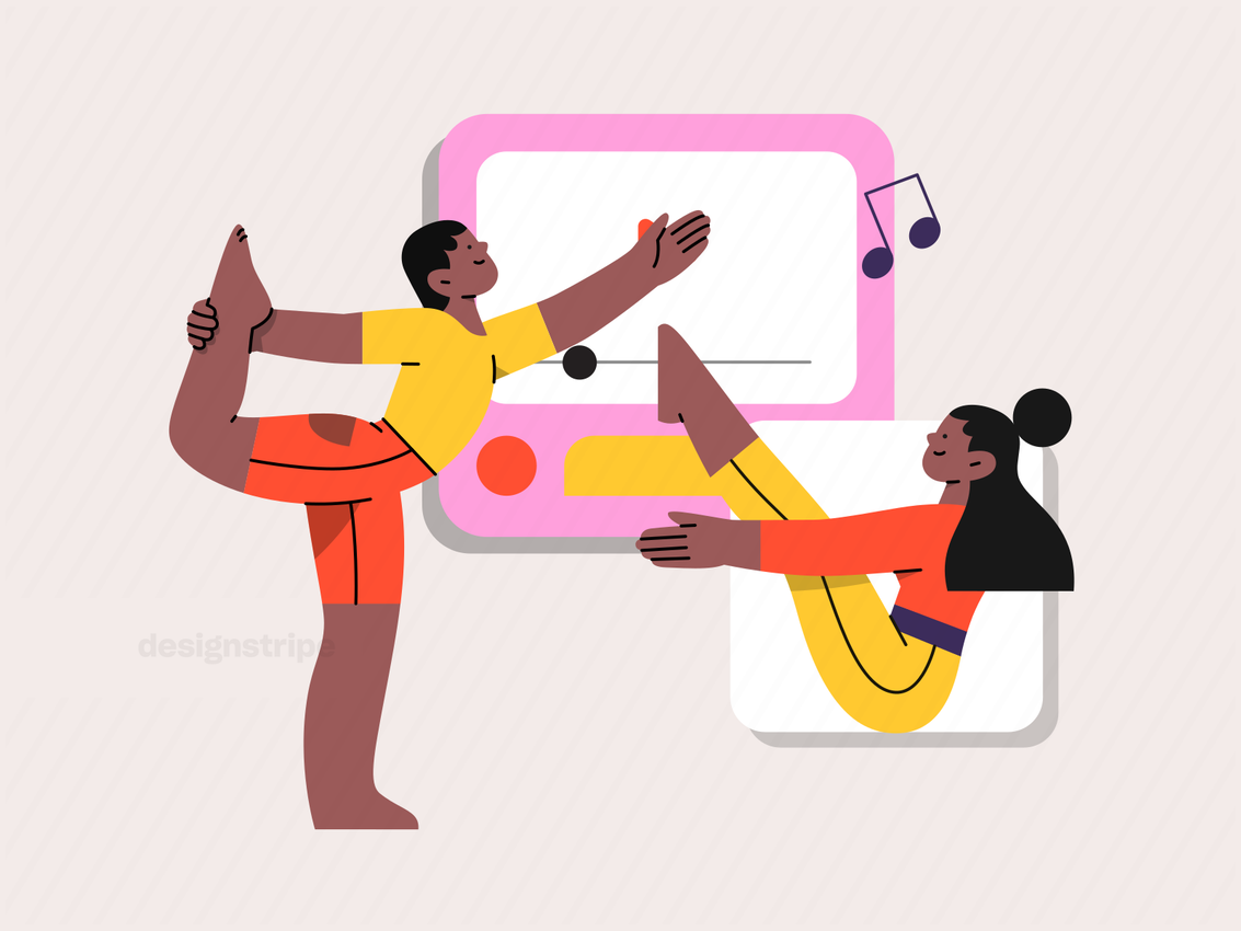 Illustration Of Two People Following Online Yoga Video