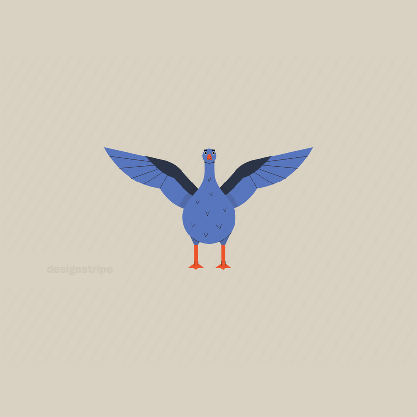 Illustration Of Goose Looking Straight Ahead With Opened Wings
