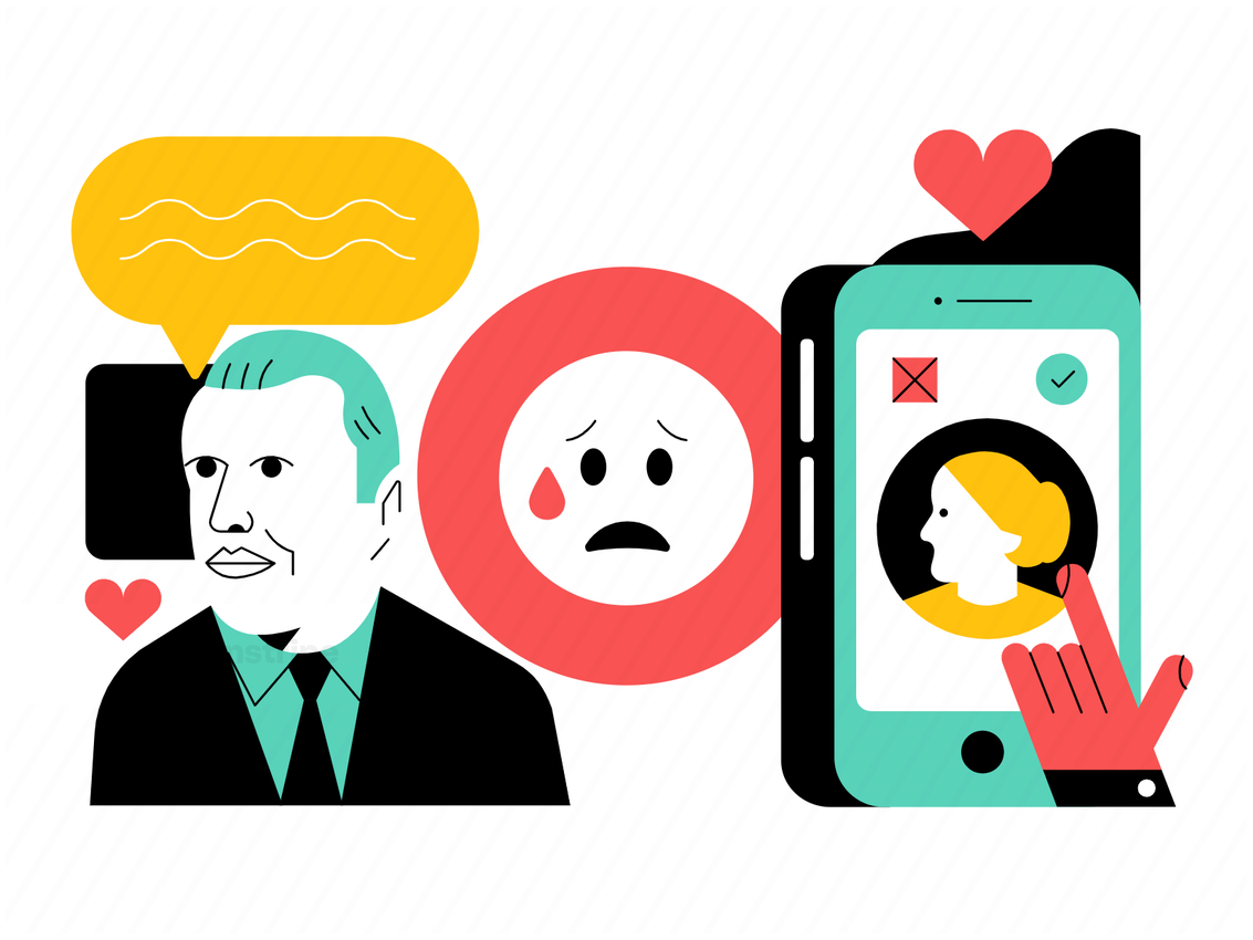 Illustration Of Person Using A Dating App