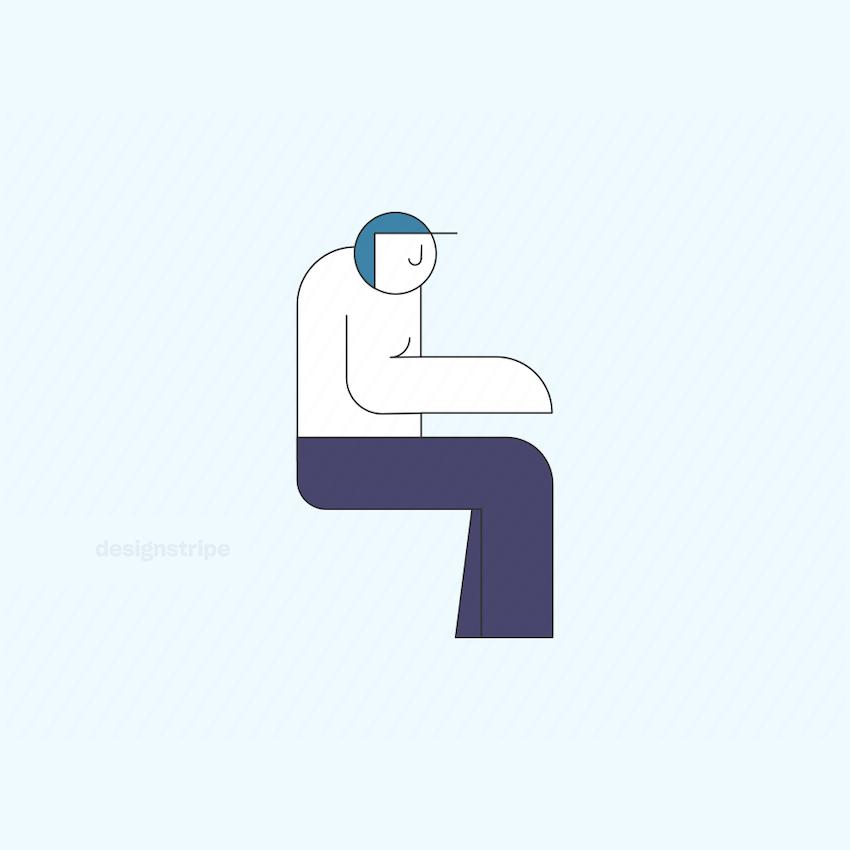 Illustration Of Sitting Man Wearing Helmet