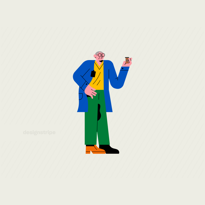 Illustration Of Doctor wearing glasses holding a flask