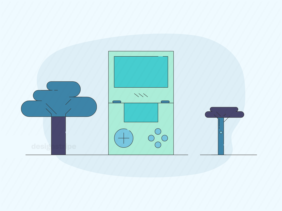 Illustration Of Video Game Console Or Controller With Outdoors Background