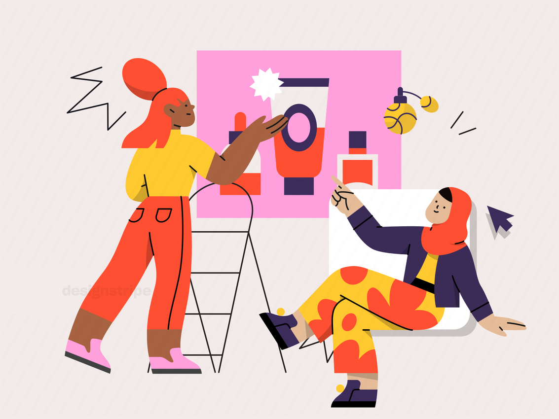 Illustration Of Two Women Collaborating on Beauty Products
