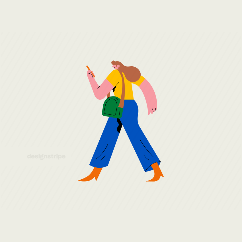 Illustration Of Walking woman looking at her phone