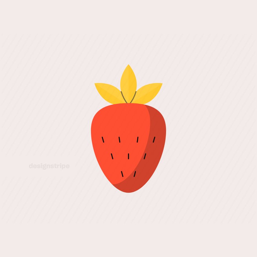 Illustration Of Strawberry with Leaves and Seeds