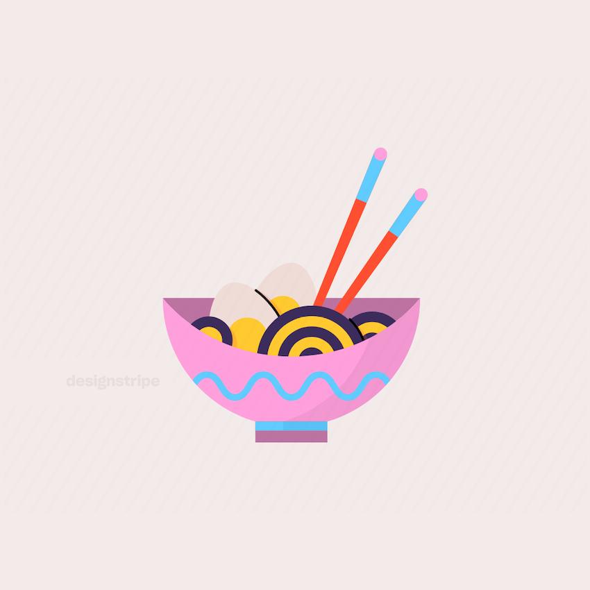 Illustration Of Japanese Ramen Bowl