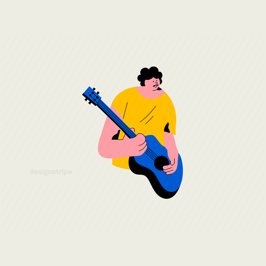 Illustration Of Half Body Guitar Player