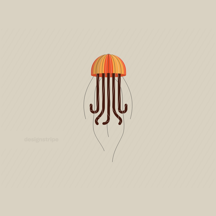 Illustration Of Floating Jellyfish With Five Stinging Cells