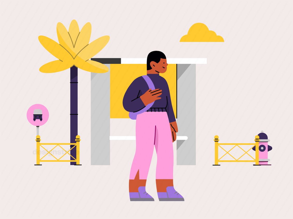 Illustration Of Young Man Waiting For The Bus