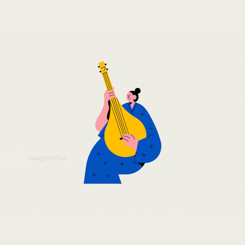 Illustration Of Woman Sitting Playing Sitar